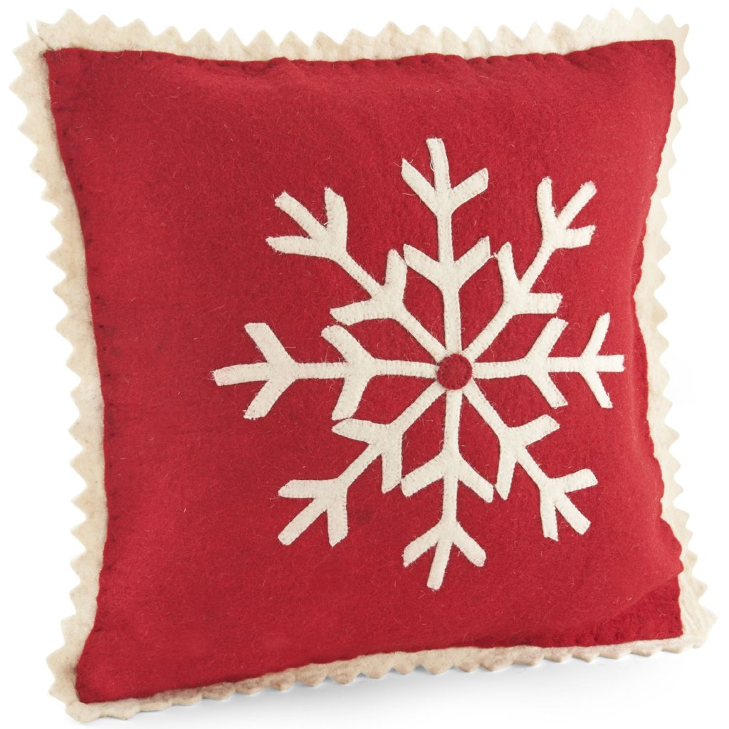 Handmade Christmas Cushion Cover in Hand Felted Wool - Big Snowflake on Red - 20