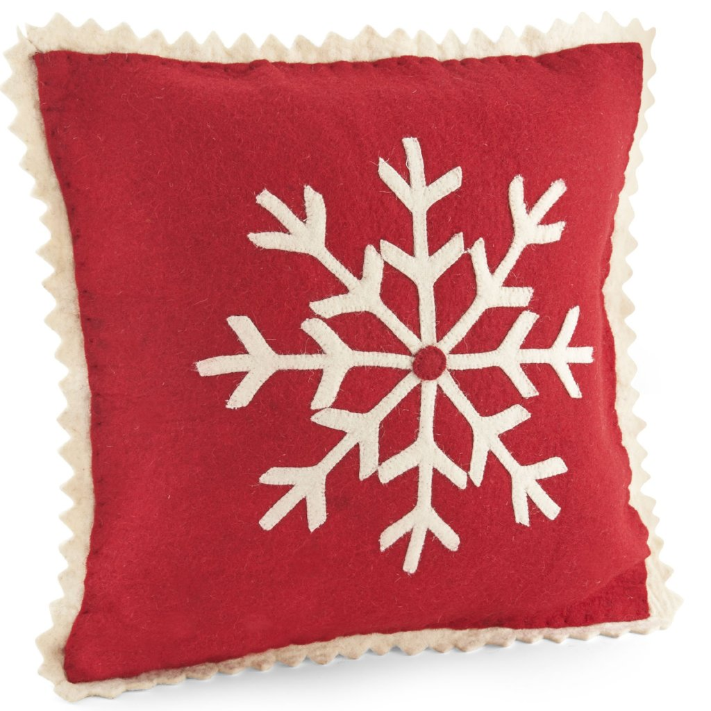Handmade Hand Felted Wool Christmas Cushion Cover - Snowflake on Red - 18