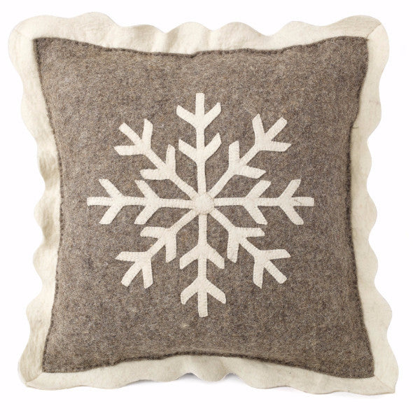 Handmade Christmas Pillow in Hand Felted Wool - Big Snowflake on Gray - 20