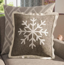 Handmade Christmas Cushion Cover in Hand Felted Wool - Big Snowflake on Gray - 20""