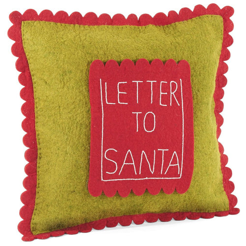 Handmade Christmas Cushion Cover in Hand Felted Wool - Letter to Santa Pocket on Green - 18