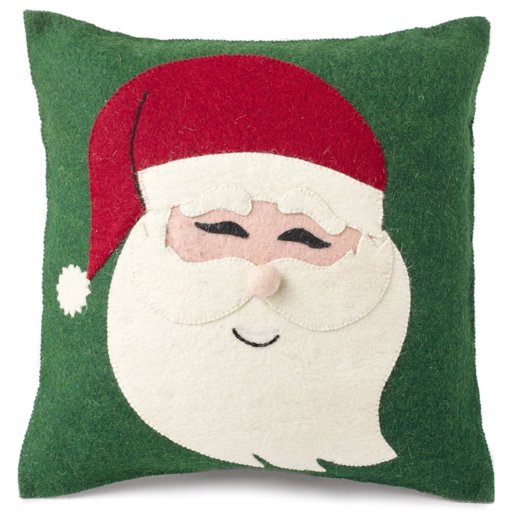 Handmade Christmas Pillow in Hand Felted Wool - Santa Face on Green - 20
