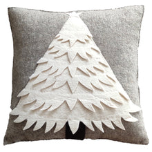 Hand Felted Wool Christmas Pillow - Cream Tree on Gray - 20""