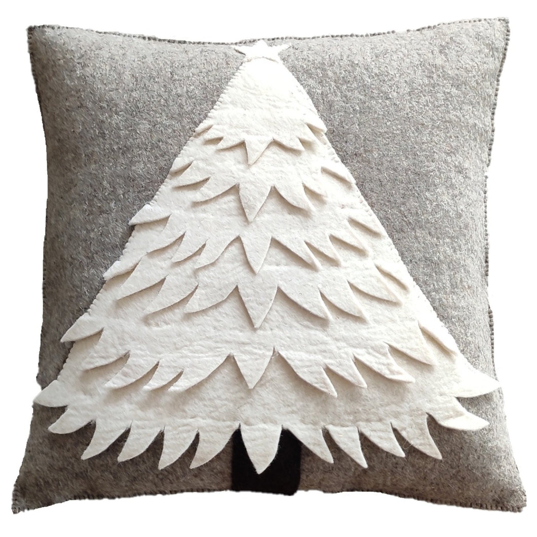 Hand Felted Wool Christmas Pillow - Cream Tree on Gray - 20