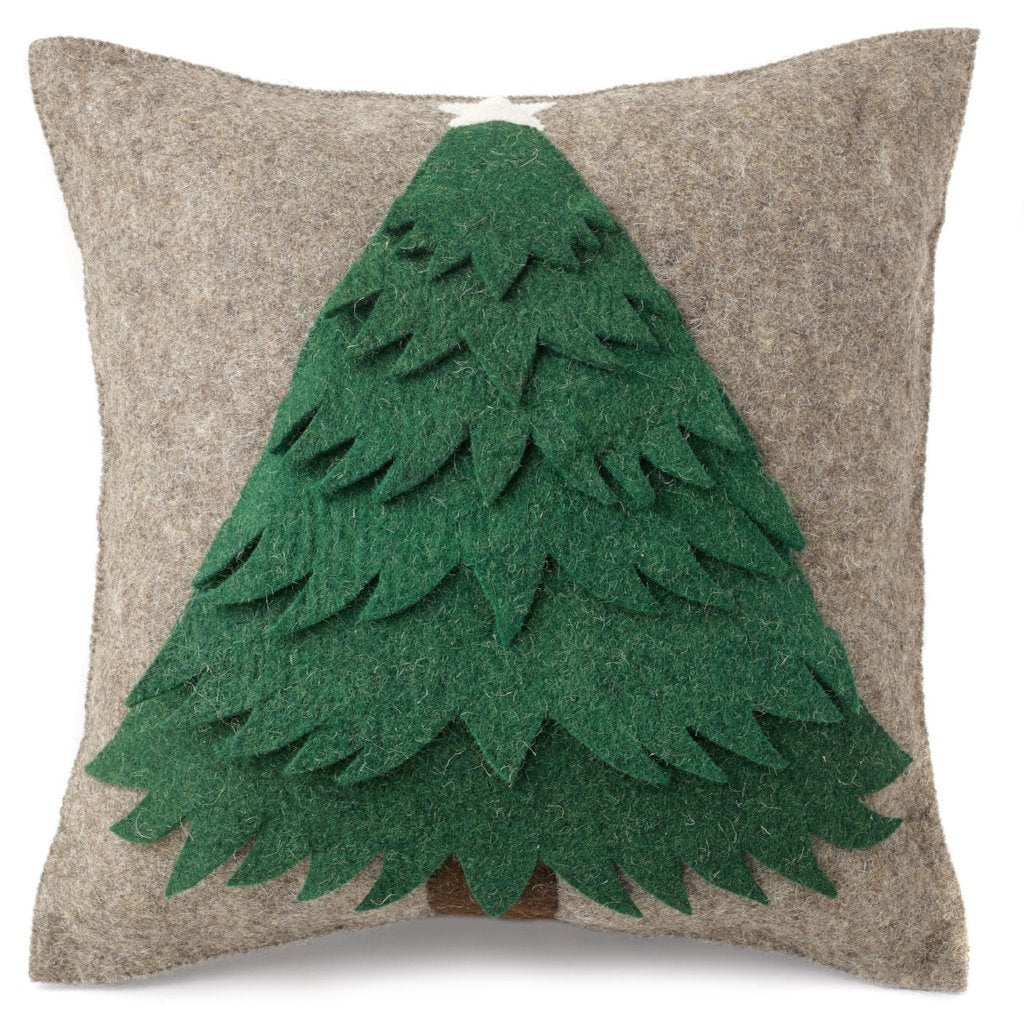 Handmade Christmas Cushion Cover in Hand Felted Wool - Green Tree on Gray - 20