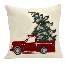 Hand Felted Wool Christmas Pillow Cover - Truck on Cream - 20""