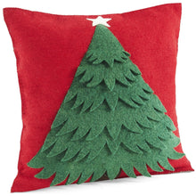 "Handmade Christmas Cushion Cover in Hand Felted Wool - Tree on Red - 20"" - Arcadia Home"
