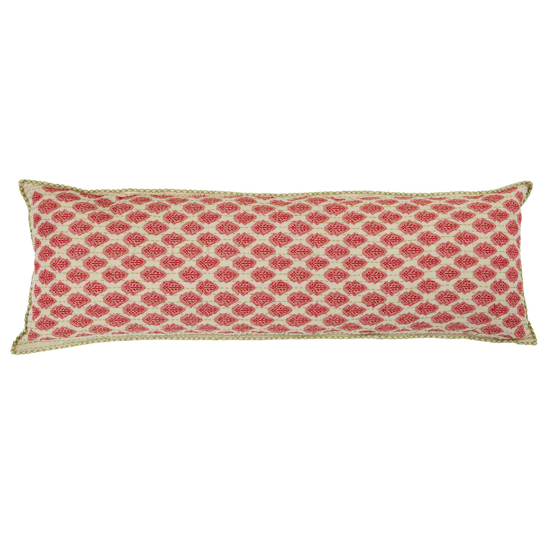 Artisan Hand Loomed Cotton Lumbar Pillow - Red with Green Stitching - 16