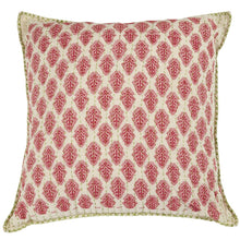 "Artisan Hand Loomed Cotton Square Pillow - Red with Green Stitching - 24"" - Arcadia Home"