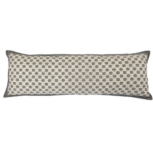 Artisan Hand Loomed Cotton Lumbar Pillow - Gray Dots - 16