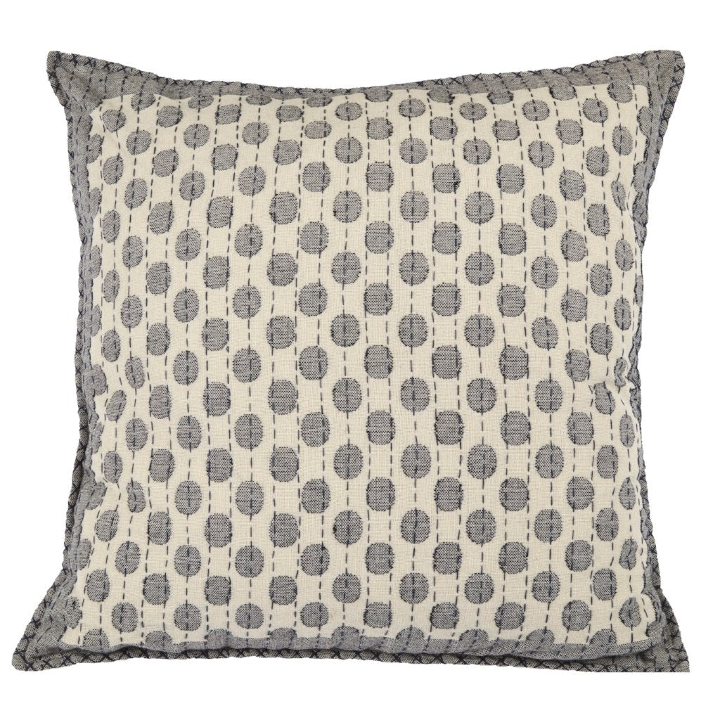 Artisan Hand Loomed Cotton Square Pillow Cover - Dots in Gray - 24