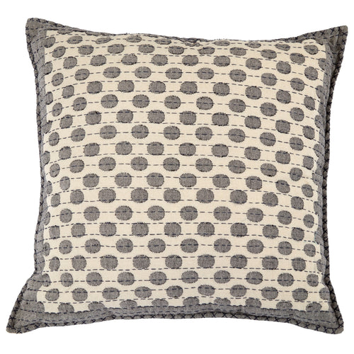 Artisan Hand Loomed Cotton Square Pillow - Dots in Gray - 24