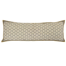 "Artisan Hand Loomed Cotton Lumbar Pillow - Gray with Yellow Stitching - 16""x48"" - Arcadia Home"
