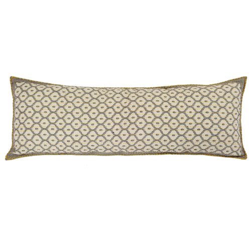 Artisan Hand Loomed Cotton Lumbar Pillow - Gray with Yellow Stitching - 16