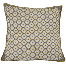 "Artisan Hand Loomed Cotton Square Pillow - Gray with Yellow Stitching - 24"" - Arcadia Home"