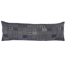 "Artisan Hand Loomed Cotton Body Pillow - Indigo Blocks - 16""x48"""
