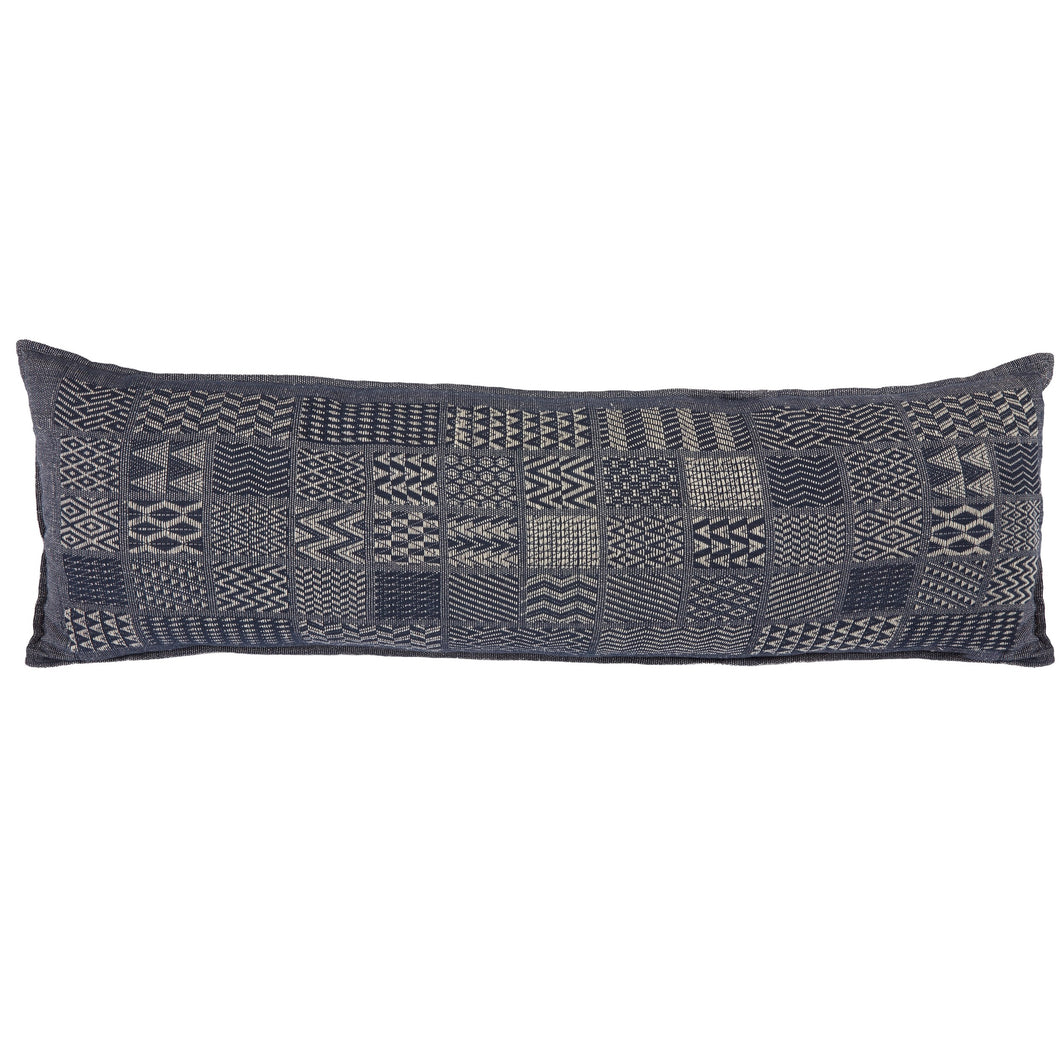 Artisan Hand Loomed Cotton Body Pillow - Indigo Blocks - 16