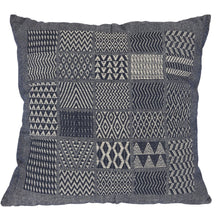 Artisan Hand Loomed Cotton Square Pillow - Indigo Blocks - 24""