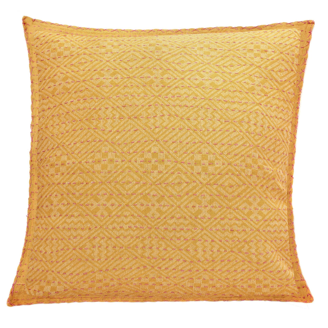 Artisan Hand Loomed Cotton Square Pillow - Yellow Diamond Design - 24