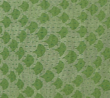"Artisan Hand Loomed Cotton Table Runner - Green Ginkgo - 18""x96"""