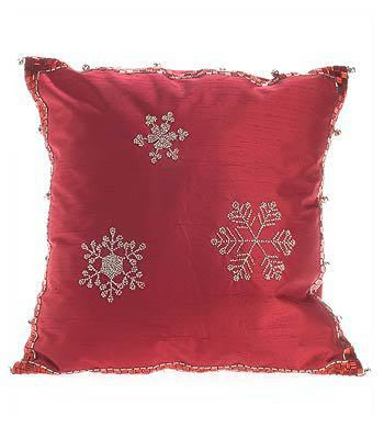 Red Silk With Silver Snowflakes Pillow-16