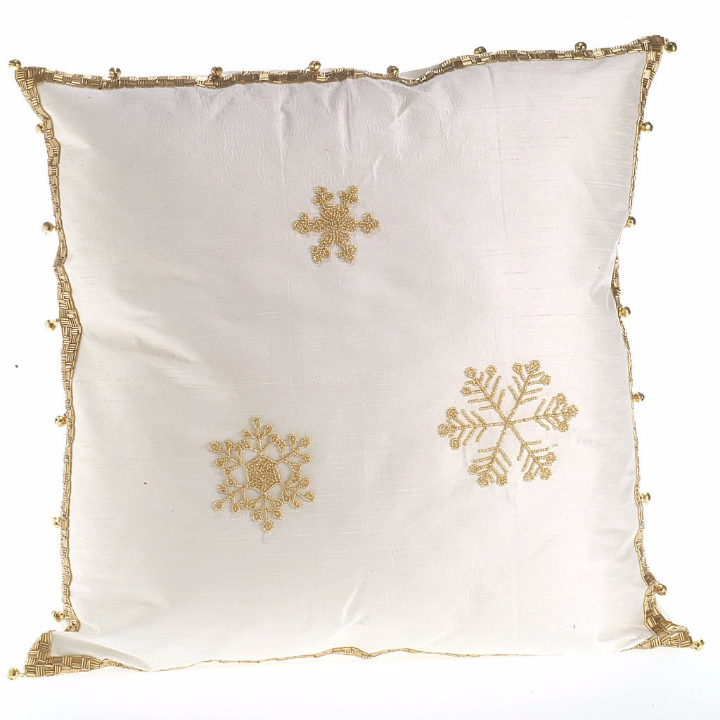 Ivory Silk Pillow with Gold Snowflakes - Arcadia Home
