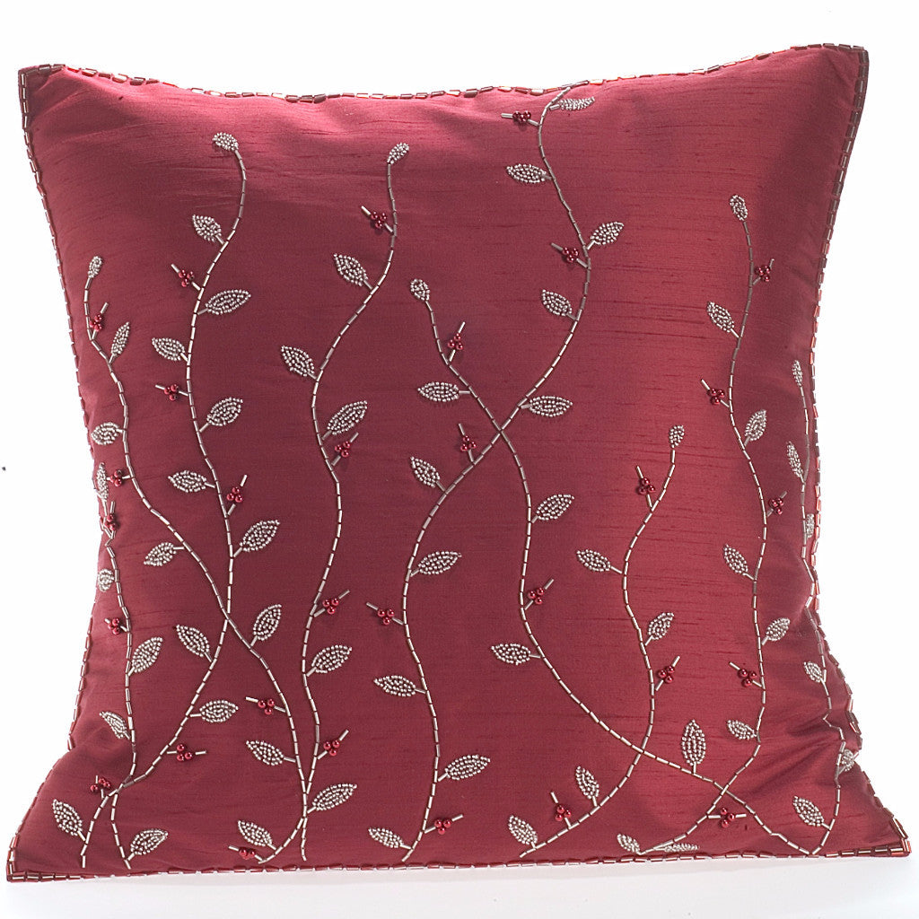 Red Silk with Silver Beaded Branches Pillow-20