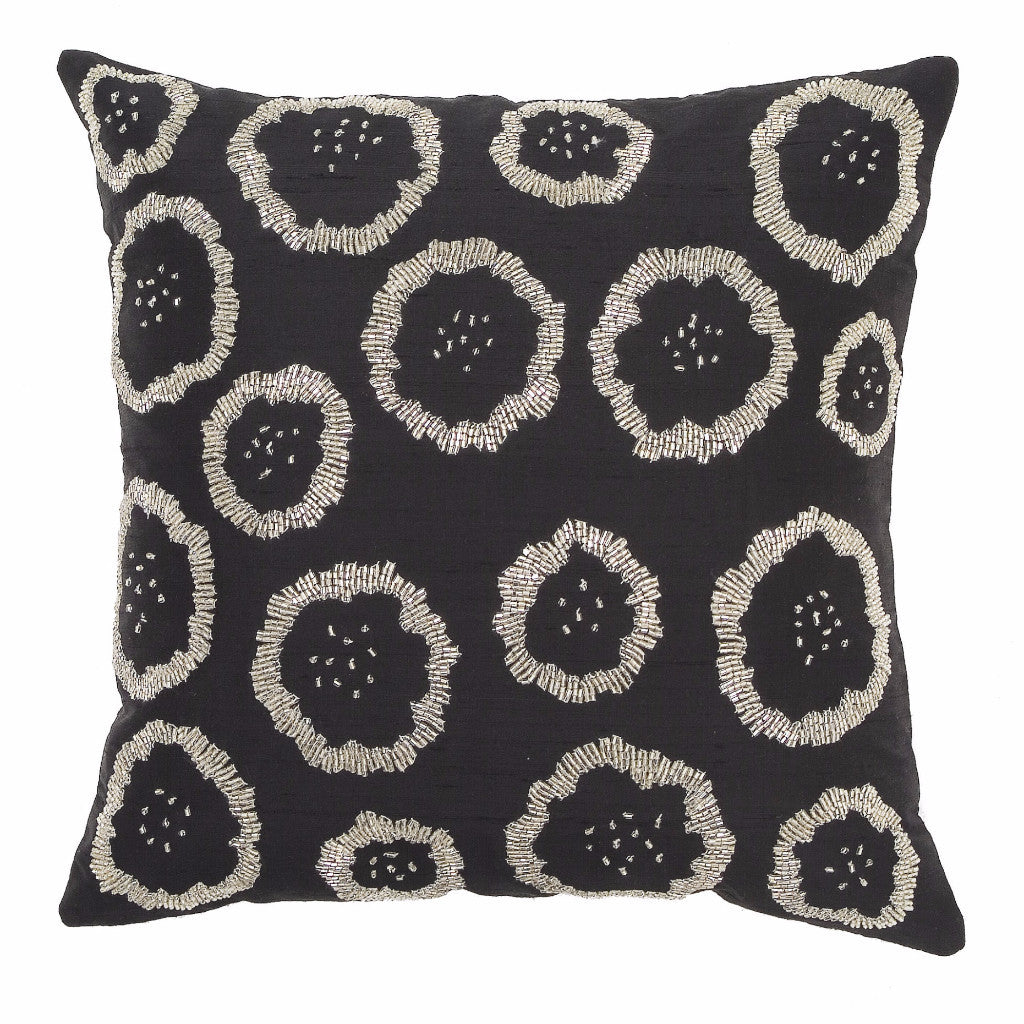Black Silk with Stylized Silver Flowers Pillow Cover