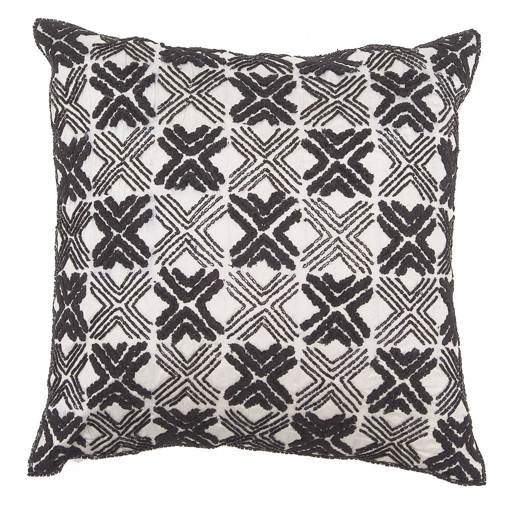 Embroidered Silk and Chenille Pillow in Black - Arcadia Home