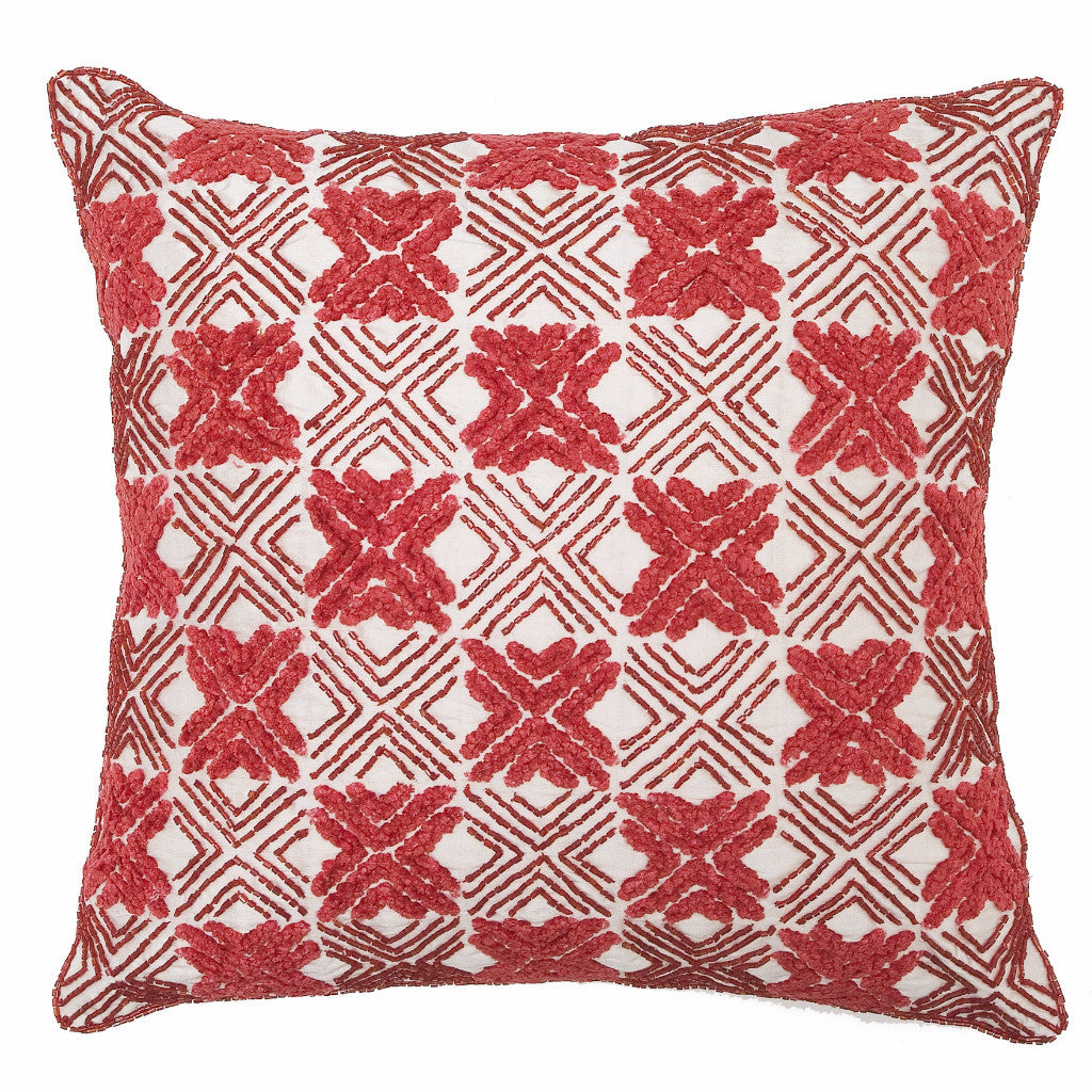 Embroidered Silk and Chenille Pillow in Red-14