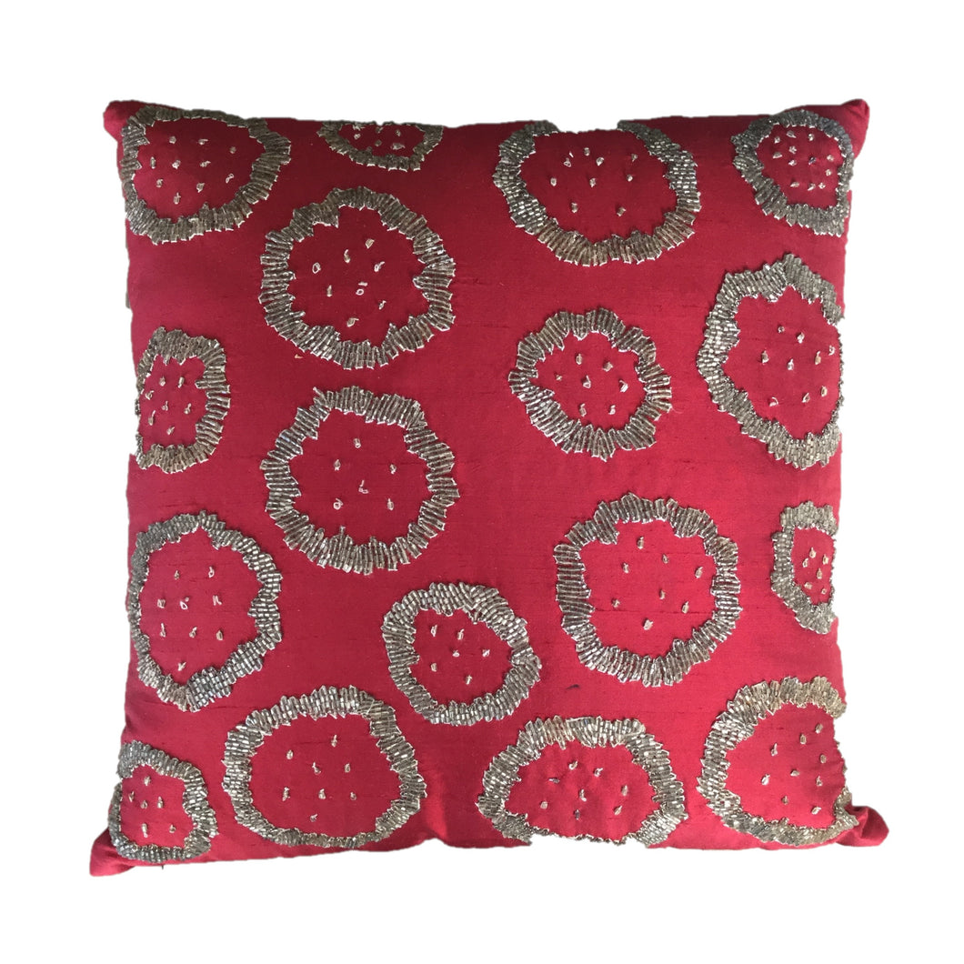 Red Silk with Stylized Silver Flowers Pillow Cover - Arcadia Home