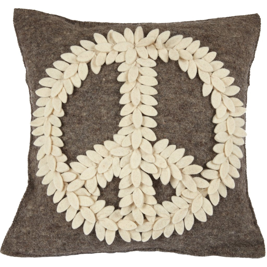 Hand Felted Wool Pillow Cover –Cream Peace Sign on Gray – 20""