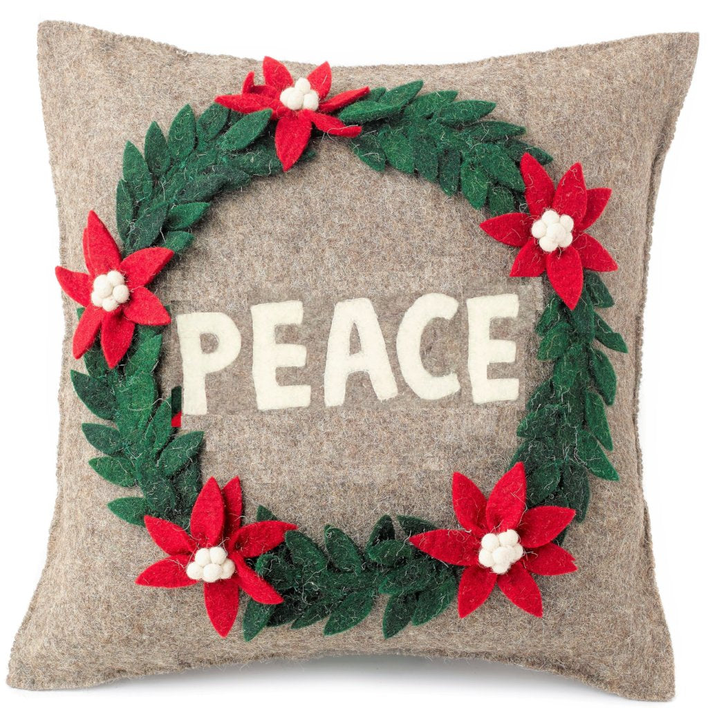 Hand Felted Wool Christmas Pillow - PEACE Wreath in Natural Gray - 20