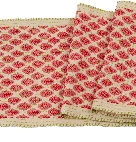 Artisan Hand Loomed Cotton Table Runner - Red with Green Stitching - 18