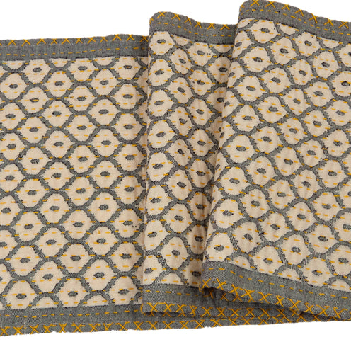 Artisan Hand Loomed Cotton Table Runner - Gray with Yellow Stitching - 18