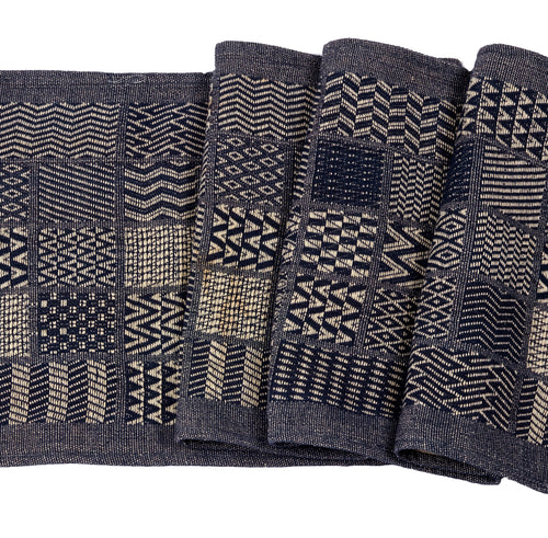 Artisan Hand Loomed Cotton Table Runner - Indigo Blocks - 18