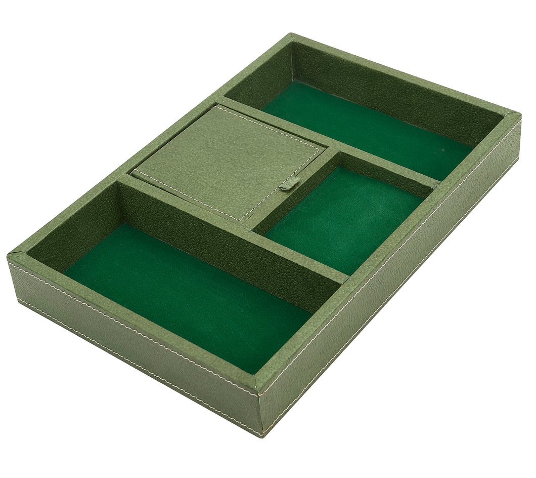 Recycled Cotton Desk Organizer in Green - Arcadia Home