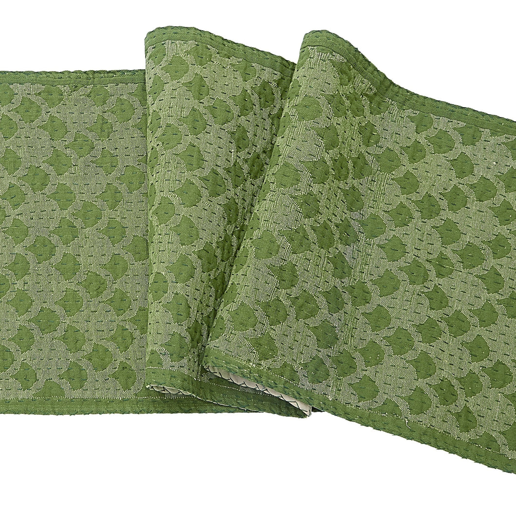 Artisan Hand Loomed Cotton Table Runner - Green Ginkgo - 18
