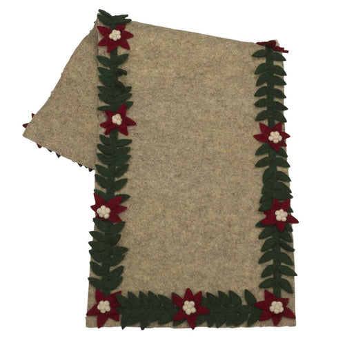 Handmade Gray Hand Felted Wool Christmas Table Runner - Poinsettia Border - 16x44