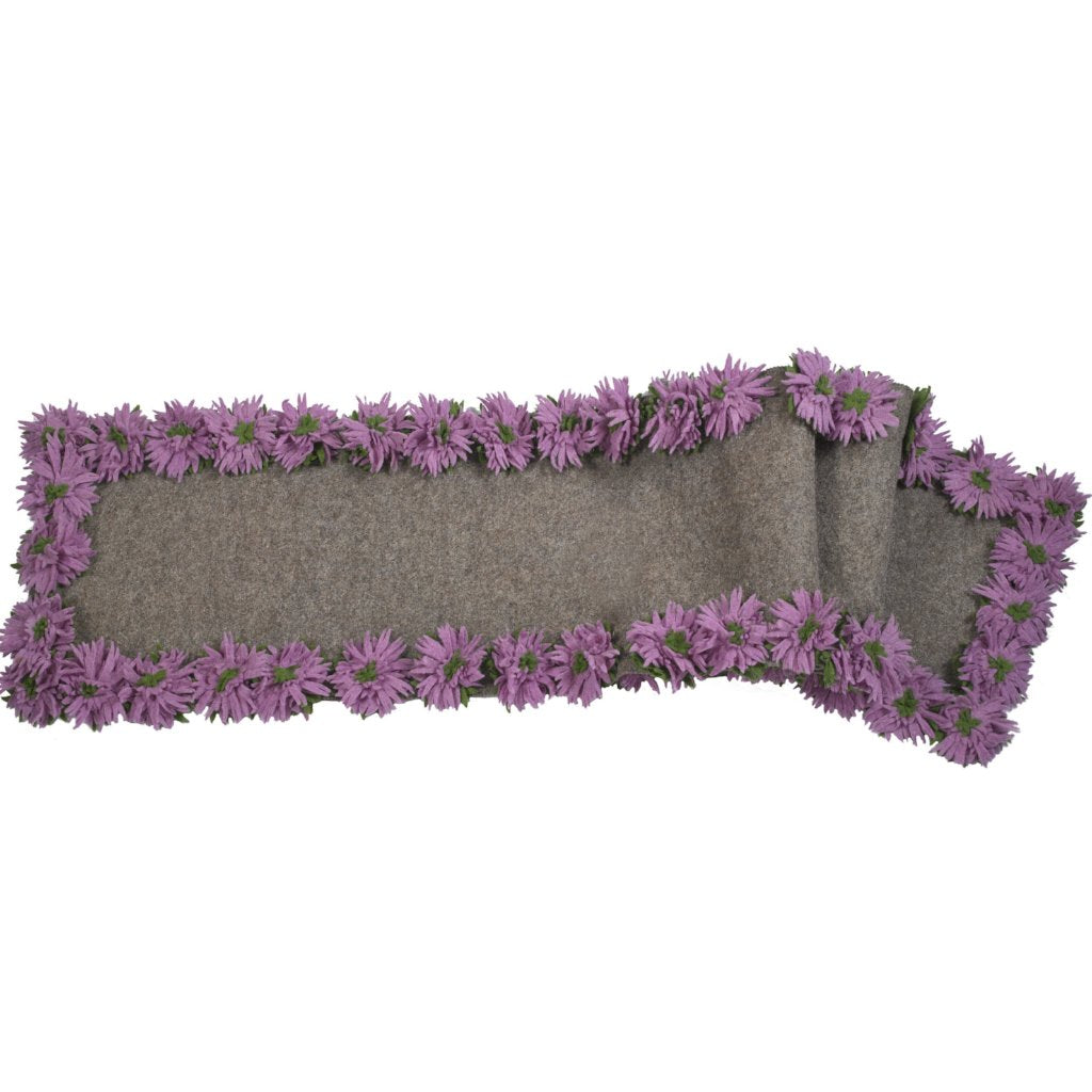 Hand Felted Wool Floral Border Table Runner - Lilac Flowers on Gray - 16x90