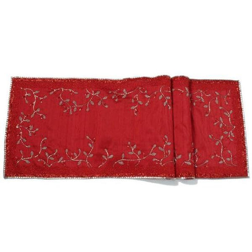 Red Silk Table Runner with Hand Beaded Silver Branches - 18
