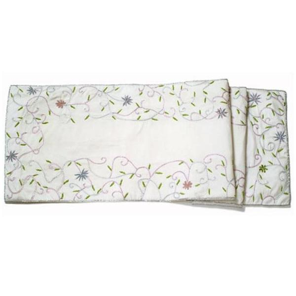 Ivory Silk Table Runner with Hand Embroidered Floral Border - 18x96