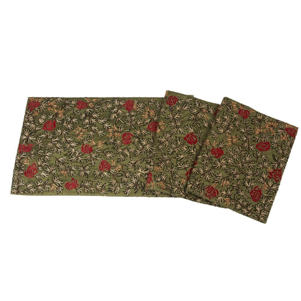 Silk Table Runner in Green with Florals Embroidery - 18