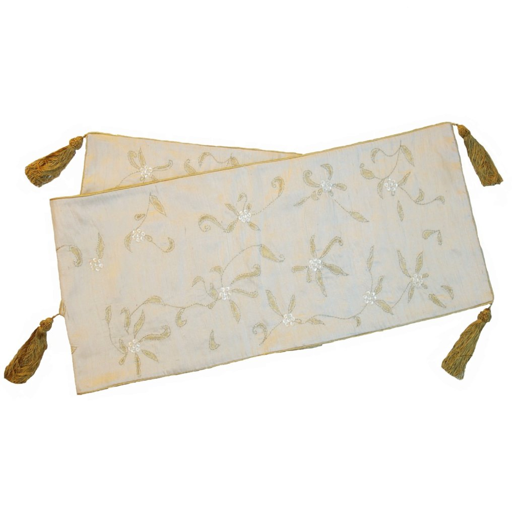 Ivory Silk Hand Embroidered Holiday Table Runner with Poinsettia Design - 18