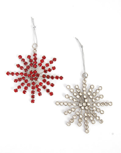 Rhinestone Starburst Ornaments- Set of 2