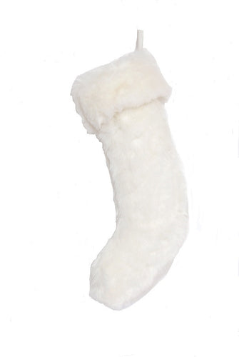 Large Faux Fur Christmas Stocking - White