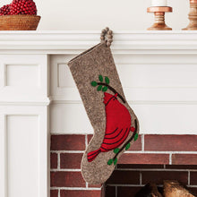 Cardinal on Gray Christmas Stocking in Hand Felted Wool - Arcadia Home