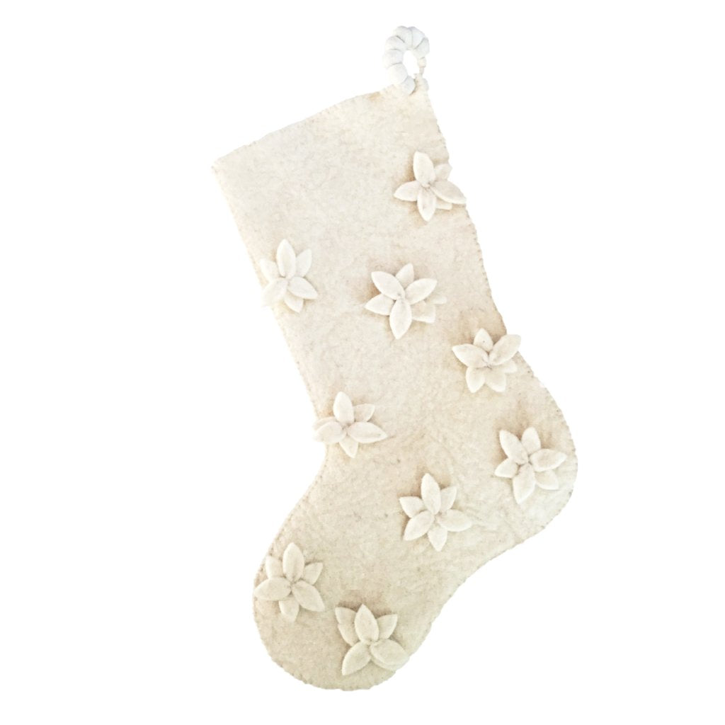 Hand Felted Wool Christmas Stocking - Scattered Flowers in Cream