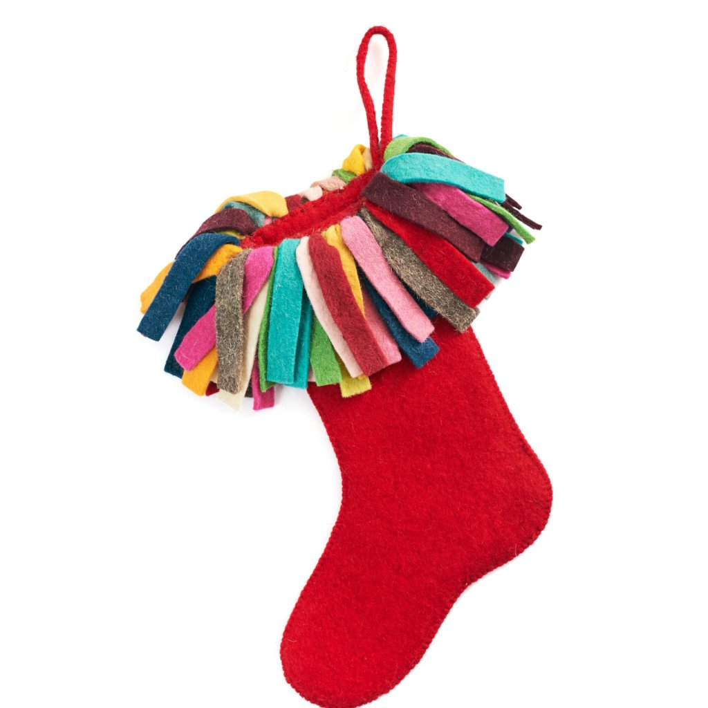 Hand Felted Wool Christmas Stocking - Multicolor Fringe on Red