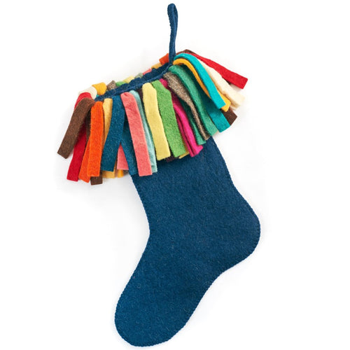 Hand Felted Wool Christmas Stocking - Multicolor Fringe on Navy Blue